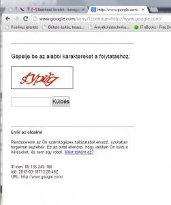 Furcsa Google üzenet